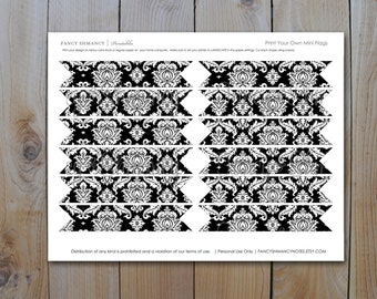 Printable Black Damask Mini Flags / Instant Download / PRINTABLE /  # 300