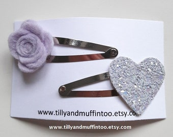 Felt Pale Lilac Rose And Dove Grey Glitter Heart Hair Clip Set. Felt Flower & Heart Hairclip Set.