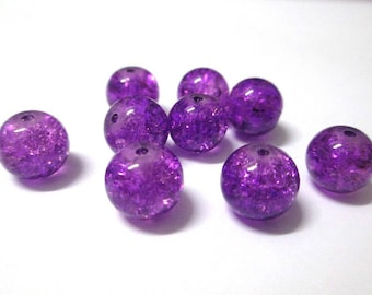 10 purple Crackle Glass 10mm (S-10) beads