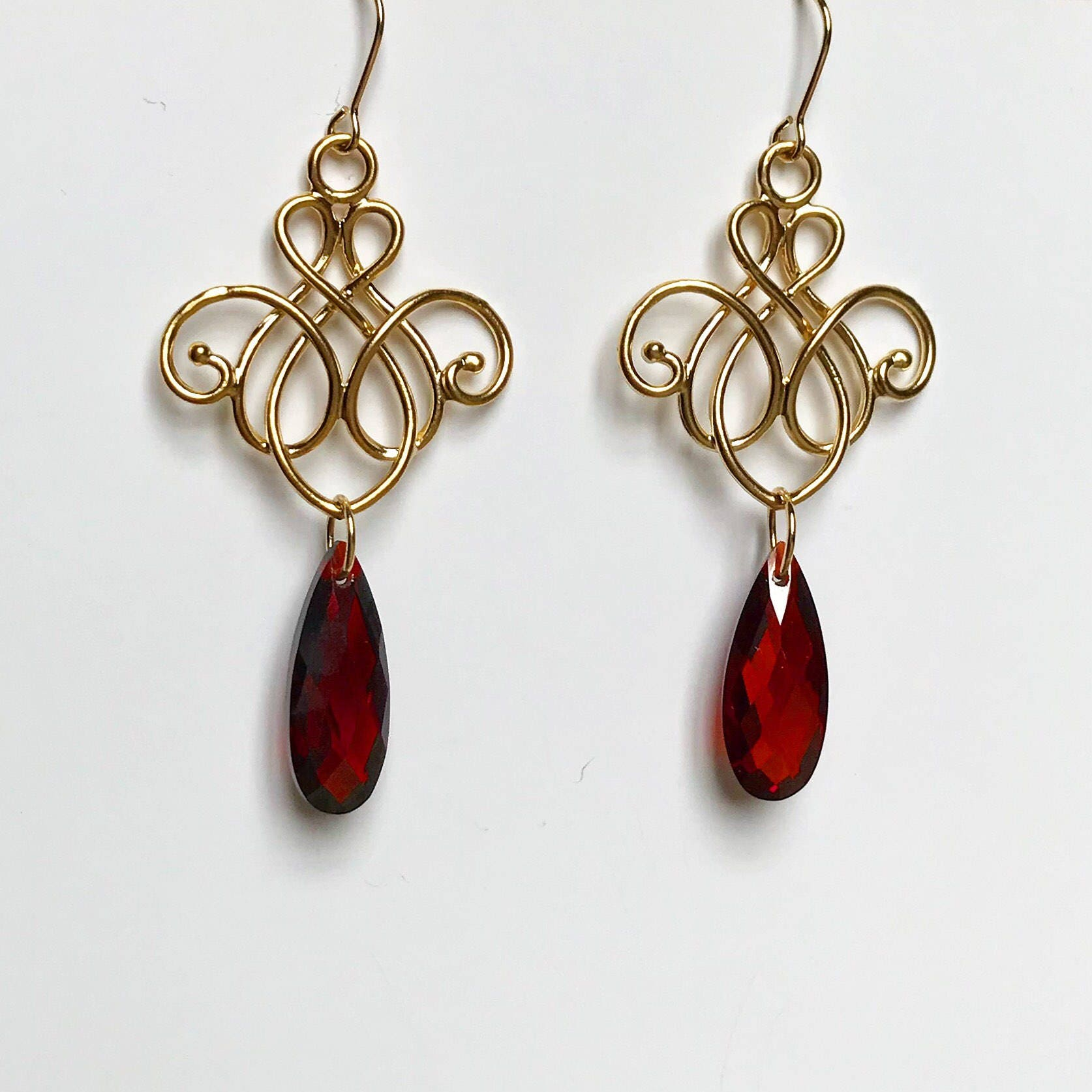Gold and red cubic zirconia chandelier earrings gold dangle gold and red cubic zirconia chandelier earrings gold dangle earrings elegant earrings gift for hergold bohemian earringsmothers day arubaitofo Images