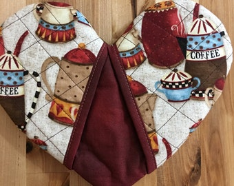 Heart Shaped Oven Mitt - Coffee - Brown and Maroon