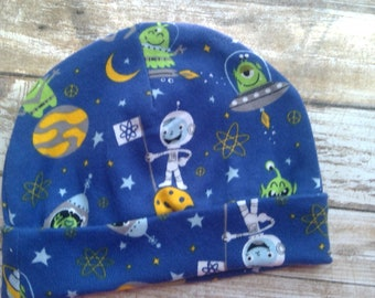 Out of this world space knit newborns hat.