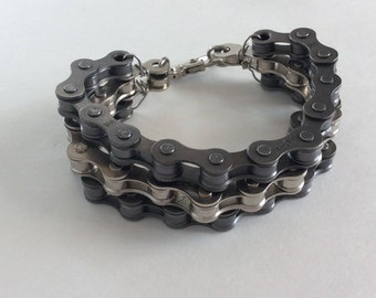 Up-cycled Bicycle Chain Bracelet, Bicycle Bracelet, Swivel Clasp, Two Toned Metal