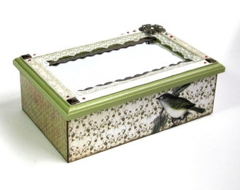 Jewelry Box Mirrored Keepsake Box Decoupaged Decorated Trinket Box Bird Themed Light Green Mixed Media Decor Gift for Her