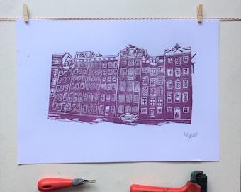 A3 Linocut Print,Amsterdam, Damrak, Art, Home Decor, House Warming Gift, Handmade Gift