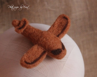 RTS felted newborn airplain, felted newborn prop brown airplain photography props photo prop