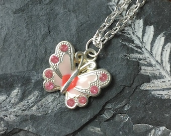 Pink Butterfly Necklace - Handmade Jewelry - Gifts for Her - Ready to Ship