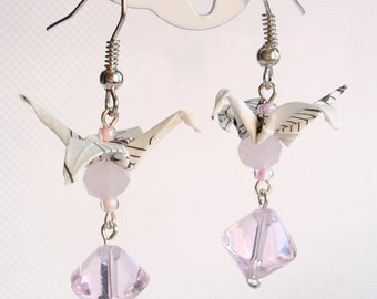 Handmade Origami Earrings with Cranes of Happiness Score Paper Pink Transparent Glitter
