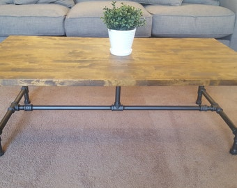 Industrial Pipe Coffee Table With Solid Wood Top