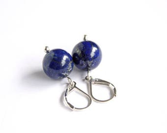 Lapis Lazuli Sterling Earrings Royal Blue Natural Stone Bead Blue Earrings Dark Blue Navy Cobalt Minimal Sterling Silver Leverback #17606