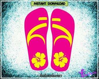 Tropical Flip Flops, Sandals, Cut Files, EPS, SVG, Png, Vector