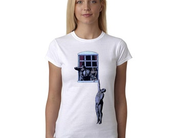 Banksy T Shirt Window Hanger Street Art Graffiti Stencil Artist Women's