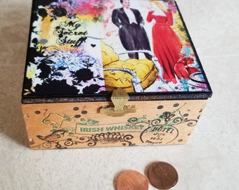 My Secret Stuff Upcycled Reuse Small Cigarello Cigar Box
