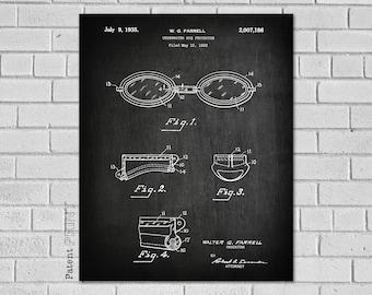 Swimming Patent, Goggles, Swim Goggles, Patent Art, Swimmer Gift, Swim, Swimming Goggles, Pool, Swimming Pool, Swim Art, SS186