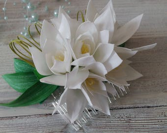 Comb with white flowers tuberose Comb flower   Bridal jewelry Gift for her White flowers Comb white