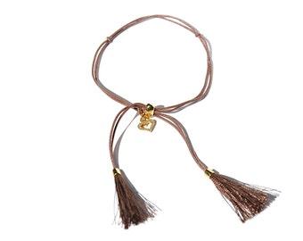 18K Diamond Heart Charm Tassel Bracelet