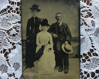 Antique Victorian Tintype Photo of Two Ladies and a Gentleman