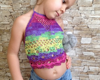 Crochet toddler open back top Rainbow baby toddler top Bohemian crop top Beach kids clothing Crochet lace top Hippie Toddler girls clothing