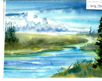 Spring Flow Original Watercolor by Jude Welter