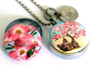 Dogwood Locket - Grow Where Planted, Quirky - Magnetic Necklace, Custom Initial Charm. Recycled by Polarity - Cuddly Rigor Mortis Collection
