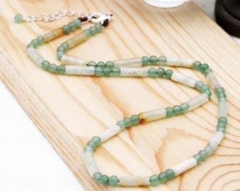 Optimistic and compassion unisex necklace - aventurine and serpentine