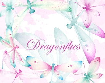Dragonfly clipart, Watercolor hand painted clipart, watercolor dragonfly, Pink dragonfly clipart, Wedding clipart, Illustration Pink clipart