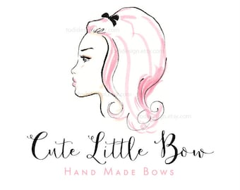 Cute Little Bow Boutique  OOAK Character Illustrated Premade Logo design-Will not be resold