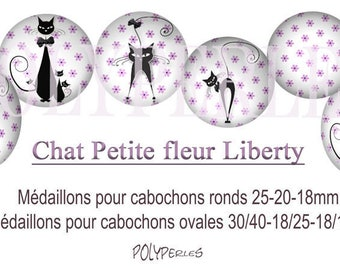 Collage digital cat liberty flower round and oval cabochons