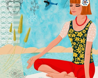 Woman doing Yoga, Meditation Art,  Woman Yogi Art, Yoga Illustration, Meditation Poster, Yoga Wall Art, Yoga Print, Practicing Yoga,