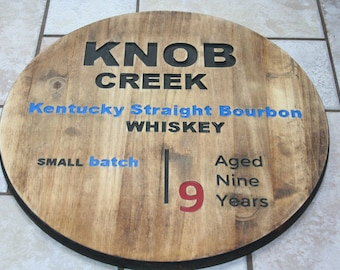 Wooden Knob Creek Bourbon Whiskey CNC Engraved Circular Bar Sign
