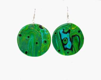 Polymer clay earrings Round earrings Green earrings Mint earrings Dangle earrings Yellow earrings Abstract earrings Spring boho earrings