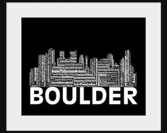 Boulder  Skyline Word Art  Typography Print Poster Title Black