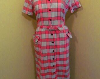Vintage Adele fashions pink and grey plaid shirtwaist dress