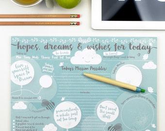 Desk Pad - Hopes Dreams & Wishes Desk Jotter - graduation gift, office home stationery, notepad, desk jotter, stationery gift, gift for her