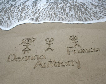 Beach Writing Stick Figures Family in the Sand Group Portrait YOU PRINT