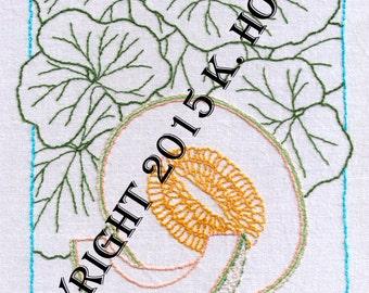 Cantaloupe Hand Embroidery Pattern, Melon, Fruit, Sweet, Squash, Vine, Leaves, Produce, Fruit, Label, PDF