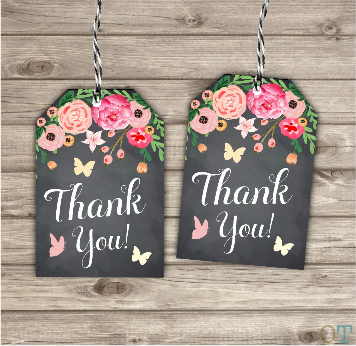 35 Handmade Printed Thank You Tags Flower Chalkboard Floral