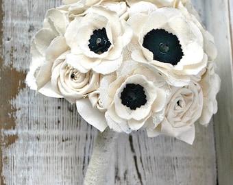 Fabric Flower Bouquet - Anemone Wedding Flowers // Bridal Bouquet, Anemone, Wedding Bouquet, Bridal Flowers, Ivory, Black, Lace, Wedding