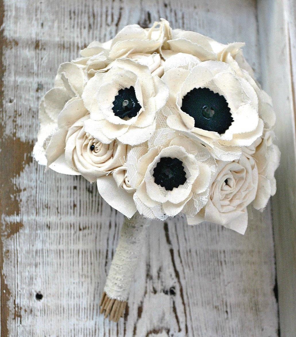 Fabric flower bouquet anemone wedding flowers bridal zoom izmirmasajfo
