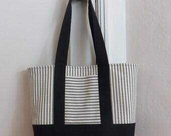 Black ticking tote bag, black canvas and black and cream ticking stripe, market bag, carryall