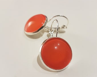 Orange nailpolish earrings with a silver plated lever back
