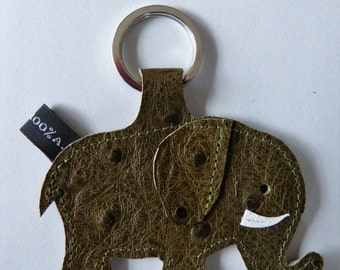 Elephant leather grain khaki ostrich - handmade keychain