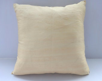 Cream dupioni silk pillow cream  throw  pillow.  decorative cushion  cover 18 inch throw pillow. 20 % discount. In stock sale