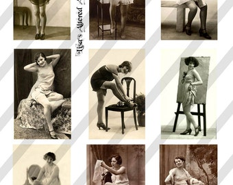 Digital Collage Sheet Risque Ladies Postcard Images (Sheet no. O68) Instant Download