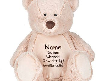 Fluffy Teddy bear with emboidery, embroidered with name, date, weight and size