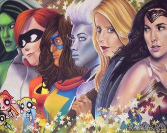 Female Superheroes ART PRINT