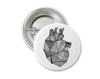 Anatomical Heart Pin Badge.