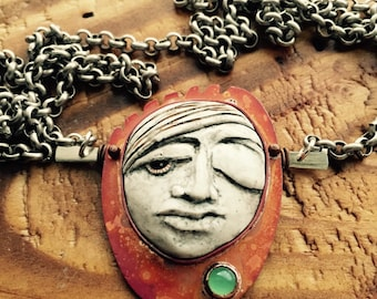 Polymer Clay Portrait with Chrysoprase Pendant Necklace