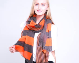 Monogrammed Striped Scarf for Women Personalized Scarf Blanket Scarf Ladies Wraps Shawls Lightweight Scarf Oversized Scarf Gift for Her