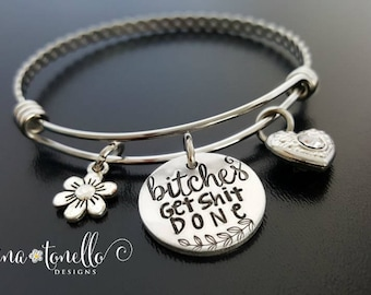 Bitches Get Shit Done, Bitches Get Stuff Done, Funny Jewelry, Tina Fey Quote, Mature, Dirty Word Jewelry, Naughty Bracelet, SNL Jewelry, TW